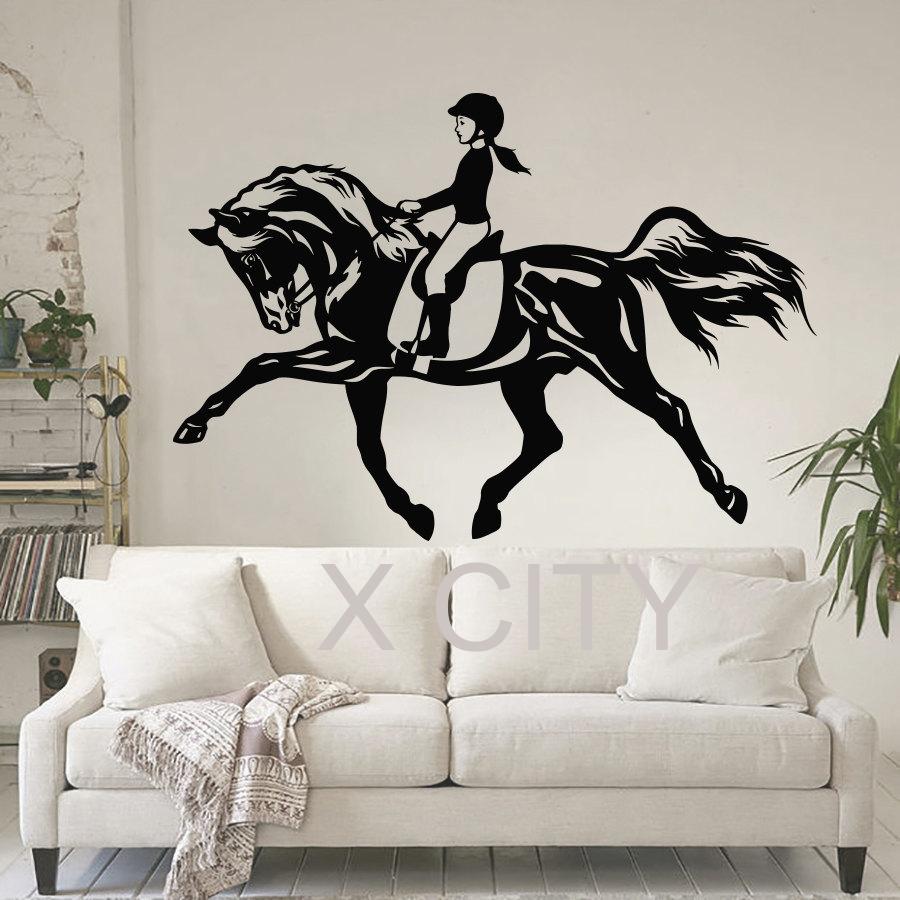 Women Horse Sport WALL ART STICKER VINYL DECAL DIE CUT WINDOW DOOR ROOM STENCIL MURAL HOME DECOR(China (Mainland))