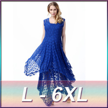 2 pieces high quality plus size 2016 new style lace long irregular round neck sleeveless two-piece sexy Western dress