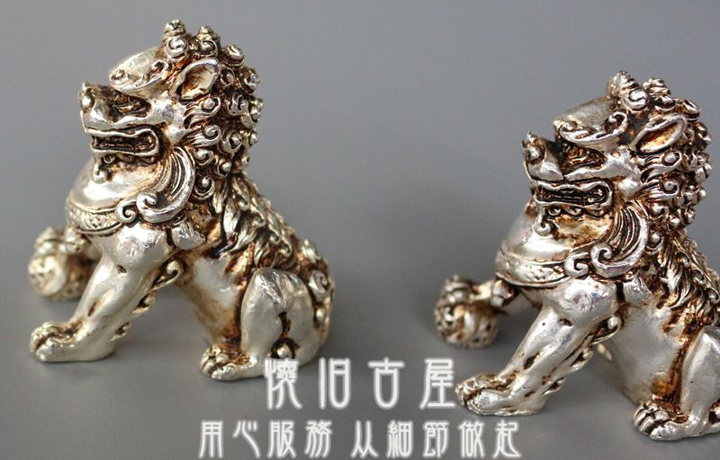 Christmas Gift White copper silver plated copper lion statue Copper lion ornaments town house evil(China (Mainland))