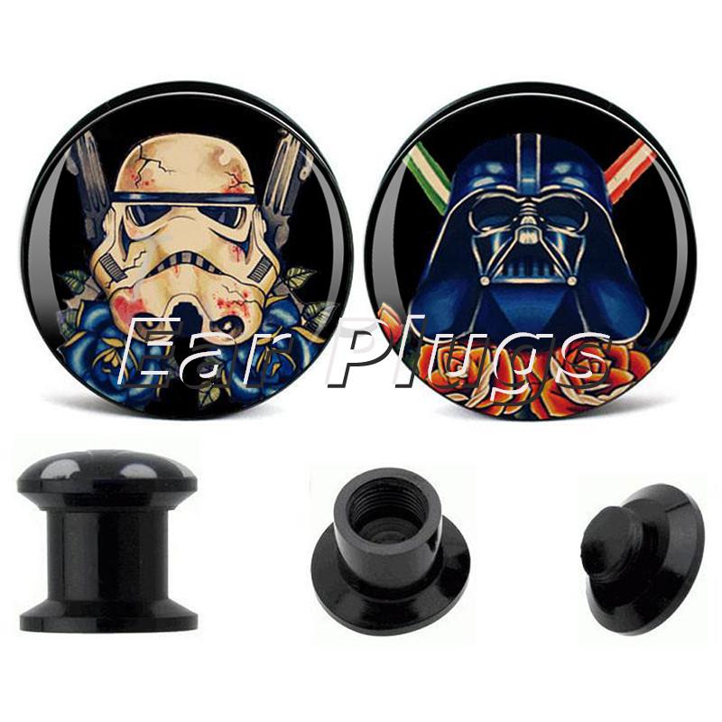 1 pair Star Wars Stormtrooper Vader ear plug gauges black acrylic screw fit ear plug flesh tunnel body piercing jewelry(China (Mainland))