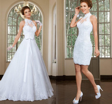 Fashion vestido de noiva 2 em 1 Halter wedding gown shoulder lace dress detachable skirt white bridal - Weddings & Events Collection store