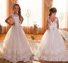 New Cap manches Backless ivoire dentelle robes de demoiselle pour les mariages 2016 Bow étage longueur première Communion robes pour filles(China (Mainland))