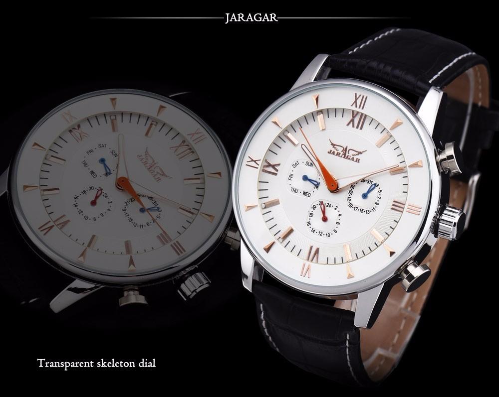 Новые Поступления 2016 Мода JARAGAR Мужские Лучший Бренд Часы Три Набора Многофункциональный Спорт Мужской Кожаный Ремешок Часы Montre Homme