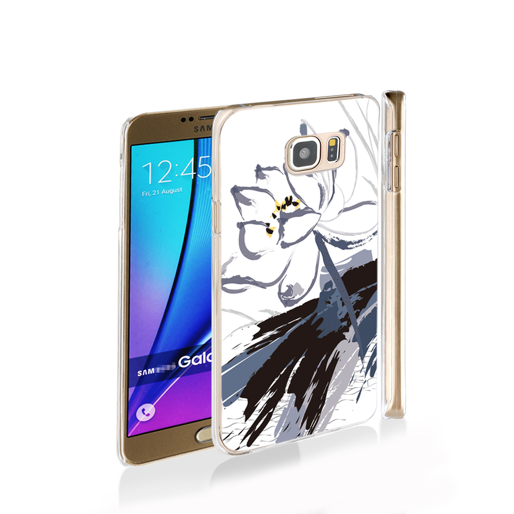 12985 White lotus cell phone case cover for Samsung Galaxy Note 3,4,5,E5,E7 CORE Max G5108Q(China (Mainland))
