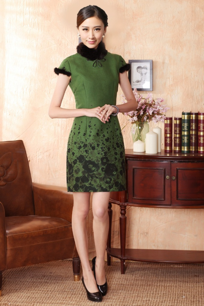 !2013 New Chinese Women's Winter Mini Qipao Cheong-sam Evening Dress Skirt Rabbit Fur Warm S-XXL 906# -