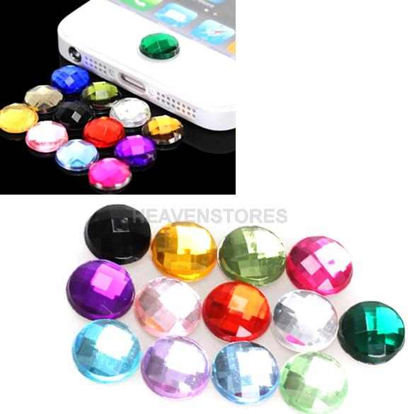 10x Diamond Bling Home Button Stickers for Apple iPod iPhone 3GS 4G 4S 5 5G hv3n(China (Mainland))