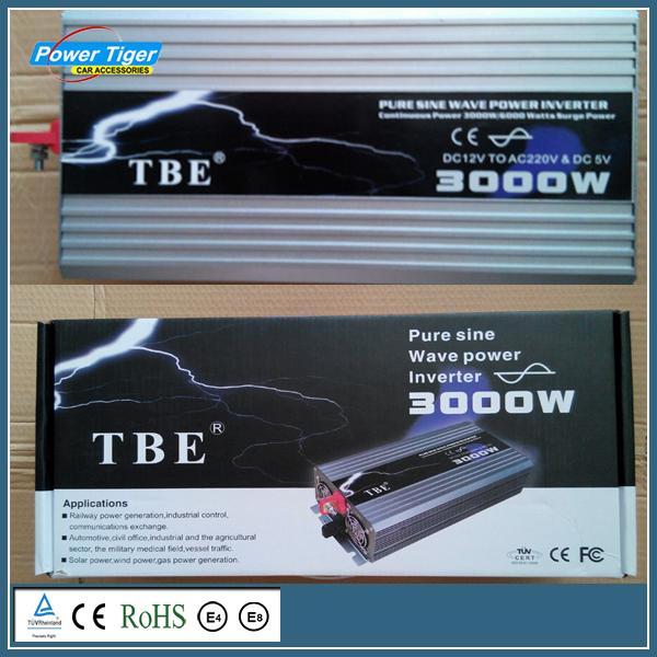 DC12V To AC 220V Pure Sine Wave Inverter USB Car Electronic Accessories Solar Inverter TBE 3000watt 3000W Power Inveretr(China (Mainland))
