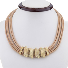 2014 HOT Rhinestone necklace gold plated leather necklaces for women jewelry wholesale FREE SHIPPING(China (Mainland))