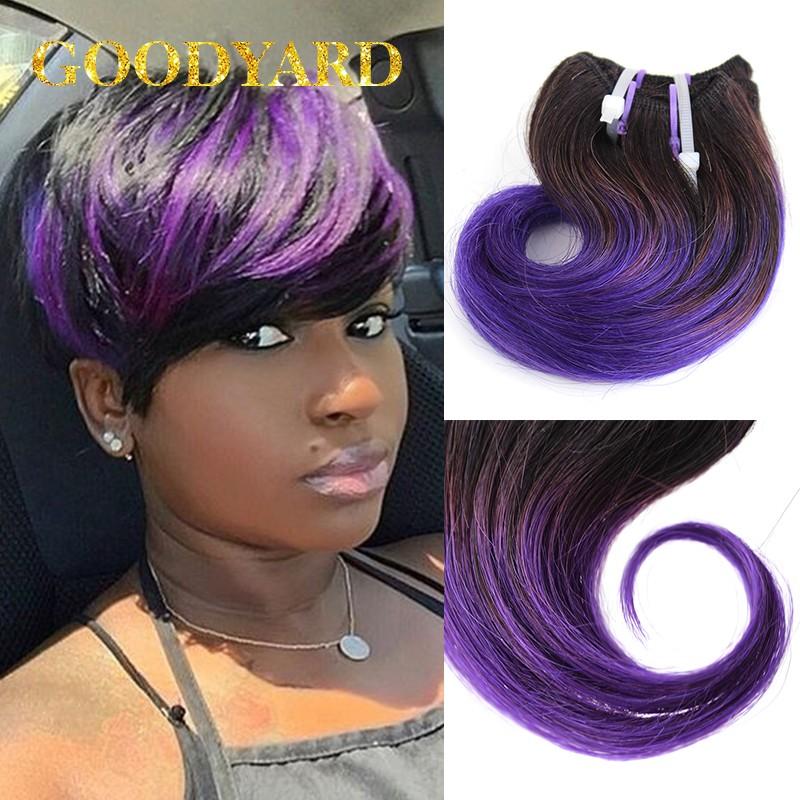 Grade 8A Brazilian Virgin Hair Short Hair Weave 6 Pcs Lot 1B Black Grey Ombre Hair Extensions Grey Hair