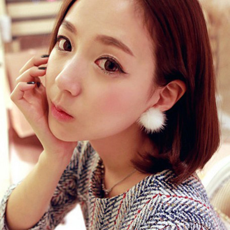 A low-key luxury high-end atmosphere and mink earrings jewelry pearl earrings for women(China (Mainland))