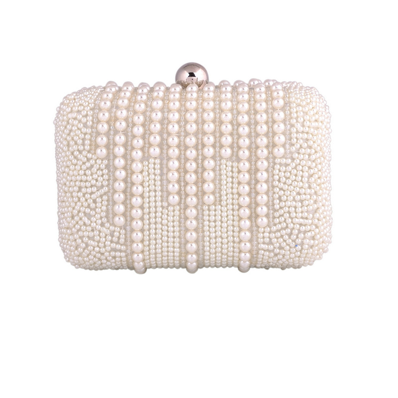 2016 bags New Pearl diamond evening clutch bags Chains white bag Women Pearl Clutch party purses Gorgeous Bridal Wedding XA144D(China (Mainland))