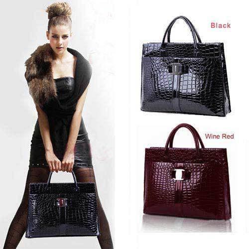 US Stock! Black & Red Women Handbag Luxury OL Lady Crocodile Pattern Hobo Tote Shoulder Bag Horizontal&Vertical style bag USB271(China (Mainland))
