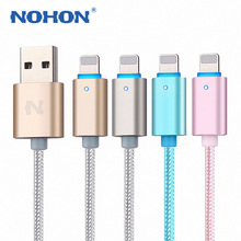 NOHON 150cm LED SMART Aluminum alloy USB cable For iphone 5 5S 5C 6 Plus 6S ipad 4 mini Air data charger cable IOS 6 7 8 9(China (Mainland))