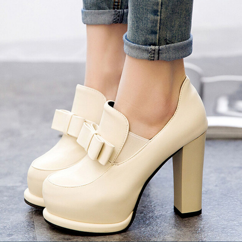 New 2015 Botas Invierno Mujer Women Autumn High Heel Martin Ankle Boots Pu Leather Platform Shoes Woman Bowtie Booty Black Beige(China (Mainland))