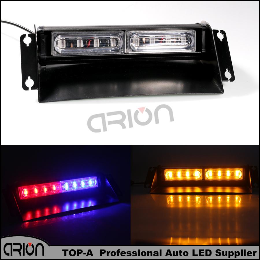 Car 24W 8 LED Emergency Vehicle Flash Light Dashboard Strobe Warning Blue Red Amber White Police Fireman Lamp Free Shipping(China (Mainland))