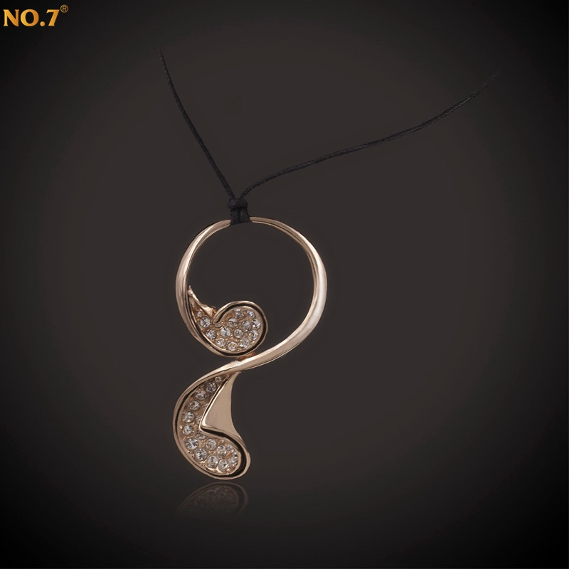 Fashion Brand AAA Zircon Pendant Necklace with Rope Chain Necklace Cord, Women Ethnic Jewelry 2016, Brand Rose Gold Plated 2016(China (Mainland))