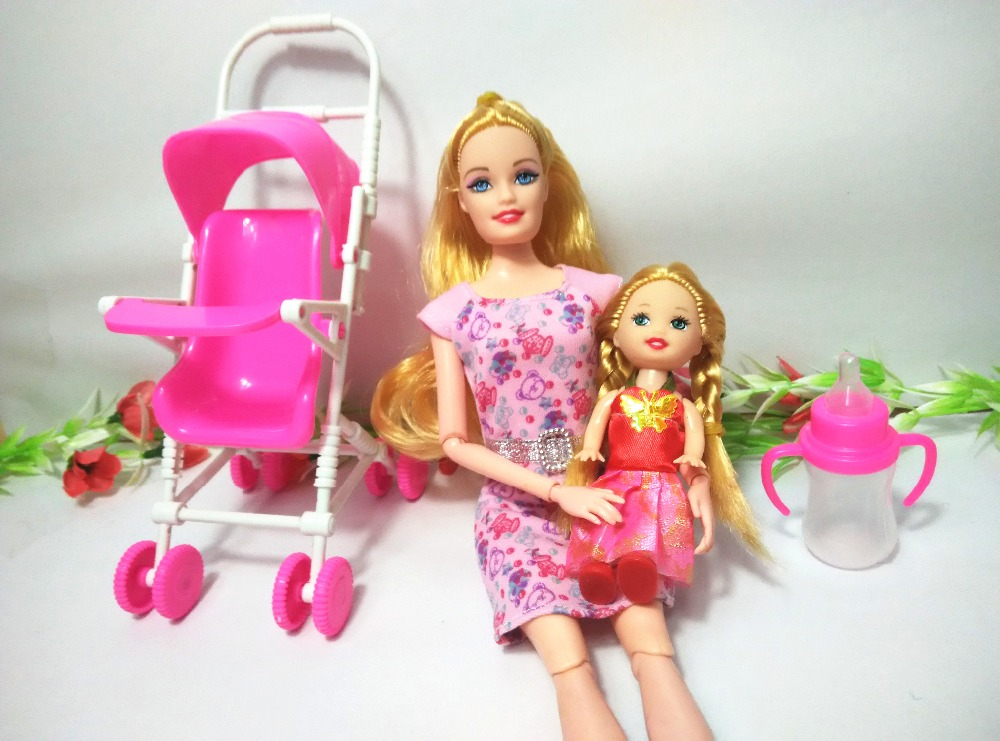 Baby Stroller Trolley for Barbie Doll children play house sets Furniture Mini dollhouse For Kelly House Classic Toys for Girl,01(China (Mainland))