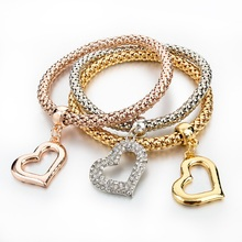 2016 Vintage Jewelry For Women Gold/Silver Plated Bracelet Pulseiras With Love Heart Pendant Wedding Bracelet SBR150199(China (Mainland))