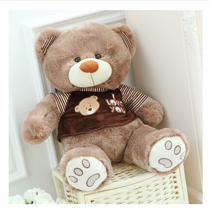 new lovely plush fat brown teddy bear toy stuffed bear with brown cloth teddy doll gift about 80cm(China (Mainland))