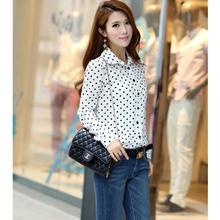 2016 New Summer Women Blouses Lady Polka Dots Vintage Design Long Sleeve Turn Down Collar Clothing Shirt Plus Size