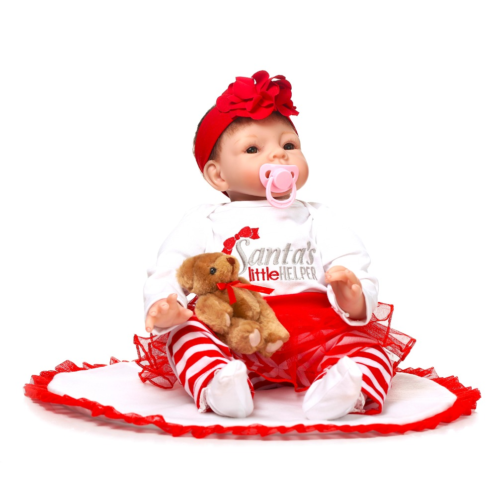 Фотография New Arrival Christmas Doll 22inch Stuffed Doll Of NPK Brand About 55cm Lifelike Soft Silicone Reborn Toys For Children