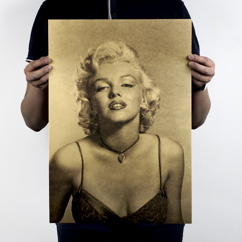Free shipping,Marilyn Monroe/Hollywood goddess star beauty/kraft paper/bar poster/Retro Poster/decorative painting 51x35.5cm(China (Mainland))