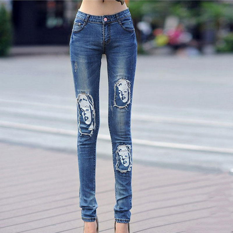 Marilyn Monroe Printing Skinny Women Jeans 2015 Fall Fashion Ripped Jeans For Women Denim Pencil Pants Plus Size Boyfriend Jeans(China (Mainland))