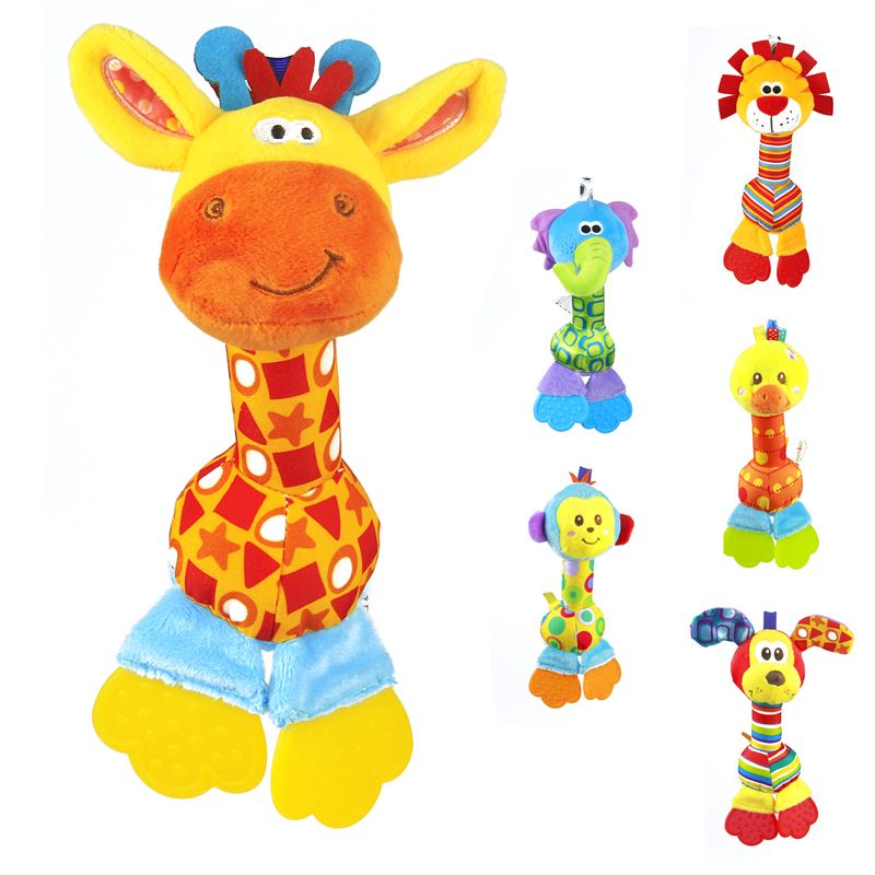 Soft Baby Toy 22cm Cartoon Animal Teether Rattle Squeaker BB Sounder Early Educational Doll Elephant Giraffe Lion Monkey Dog(China (Mainland))