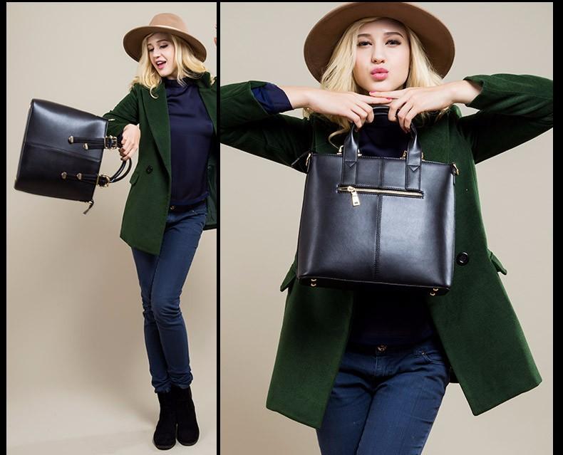 Genuine Leather Fashion Ladies Handbag Retro Trendy Cowhide Crossbody Bag Belt Buckle Women Designer Elegant Shoulder Bag
