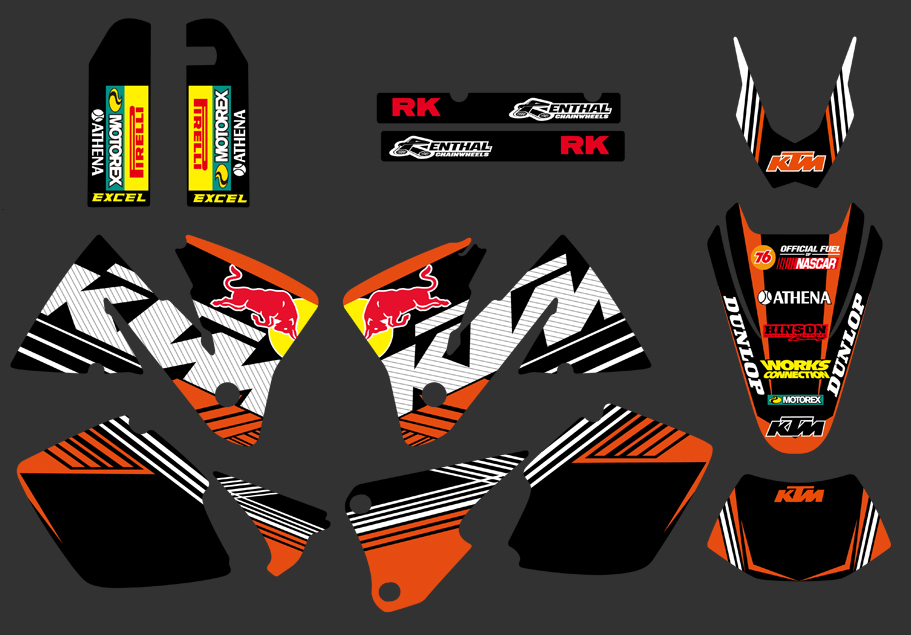 DST0266 bull NEW TEAM GRAPHICS WITH MATCHING BACKGROUNDS FIT FOR KTM MXC EXC 250 300 350 400 520 2001-2002 - Yongkang Tongshida Industrial & Trade Co., Ltd. store