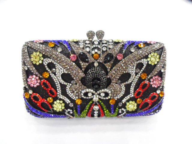 Фотография 8288-A Crystal Floral Flower Lady fashion Wedding Bridal Party Night hollow Metal Evening purse clutch bag handbag case box