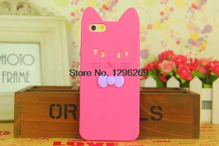 New 3D Cartoon Cute Bow Rose Cat Ears Soft Silicone Case For iphone 6 6S Plus Funda Capa For iphone6(China (Mainland))