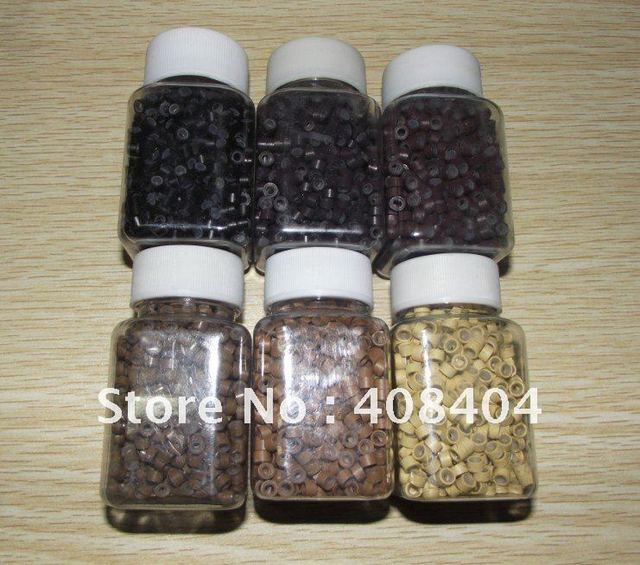 high quality micro silicone beads for hair extension micro rings tubes 6colors 1000pcs/bottle  prompt delivery!