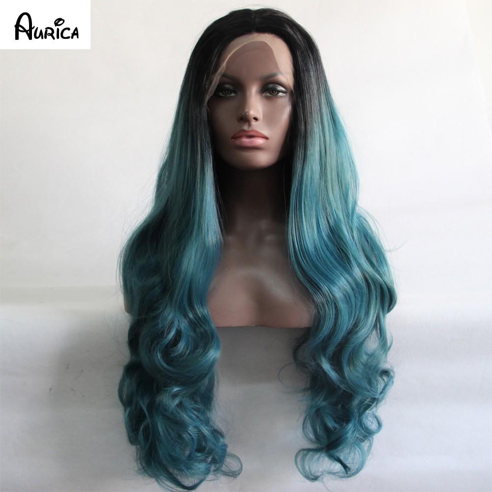 teal color bodywave wig5 aurica