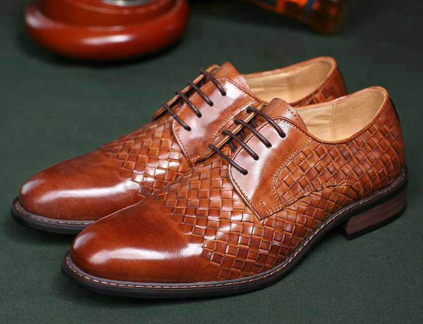 2015 Braided Men Shoes Luxury Brand Genuine Leather Weave Men Dress Shoes Italian Designer Flat Wedding Shoes Size38-44 OX938(China (Mainland))
