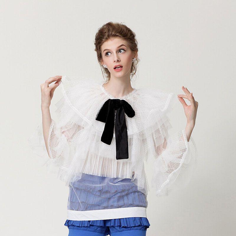 2015 new runway spring&summer fashion vintage princess royal court lace gauze patchwork bow design chiffon tops blouse shirt(China (Mainland))