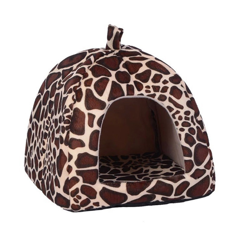 2016 New Pet House Foldable Soft Warm Leopard Print And Strawberry Cave Cat Dog Bed Cute Kennel Nest Dog Fleece Cat Tent Bed(China (Mainland))