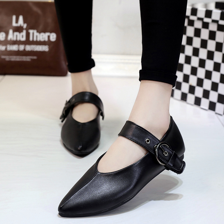 2016 fashion pointed toe flat heel shoes v dipper loafers leather flats shoes buckle <br><br>Aliexpress