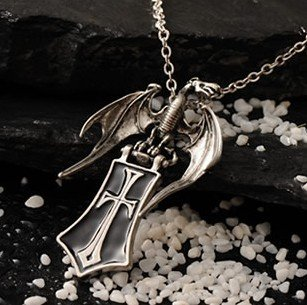 Free shipping gift bag wholesale alloy crystal fashion accessories Guard Dragon Shield Gothic cross necklace sweater chain 0091(China (Mainland))