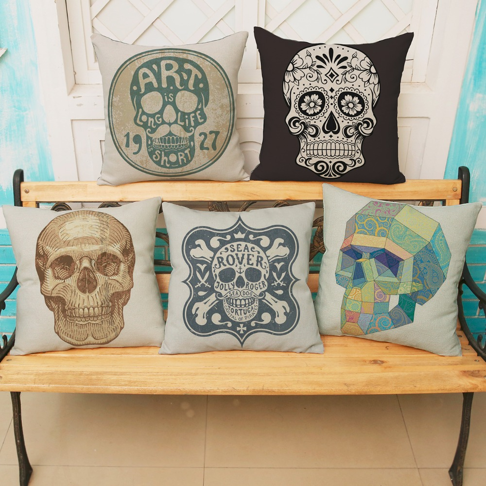 luxury home decoration outdoor Car sofa seat cushion cushions pillow Skull 45*45cm/17.7*17.7' Wall Sticker pattern printing