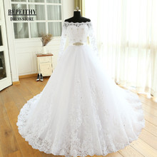 Buy Vestido De Novia Empire Wedding Dresses Chapel Train Long Sleeve Shoulder Customized Cheap Brides Dress Long Bridal Gown for $220.58 in AliExpress store