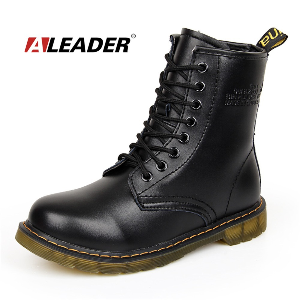Womens Autumn Leather Ankle Motorcycle Boots New 2016 Spring Waterproof Martin Shoes Women Botas Femininas botte femme - Aleader Brand Flagship Store store