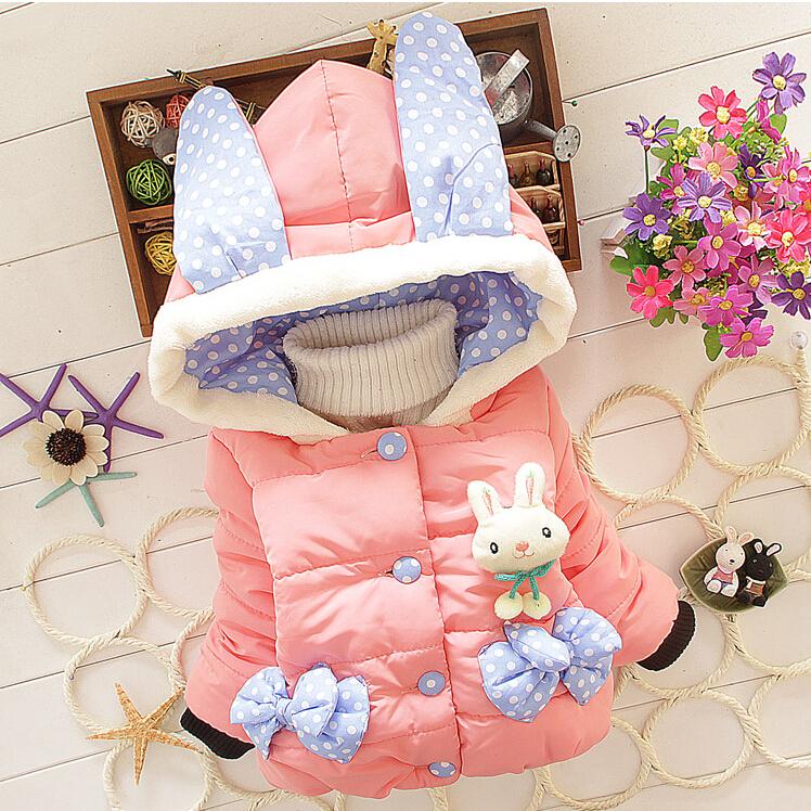 Retail New 2015 Baby Girls Winter Cartoon Rabbit Jacket Children Cotton Novelty Hooded Thick Warm Coat Kids Lovel