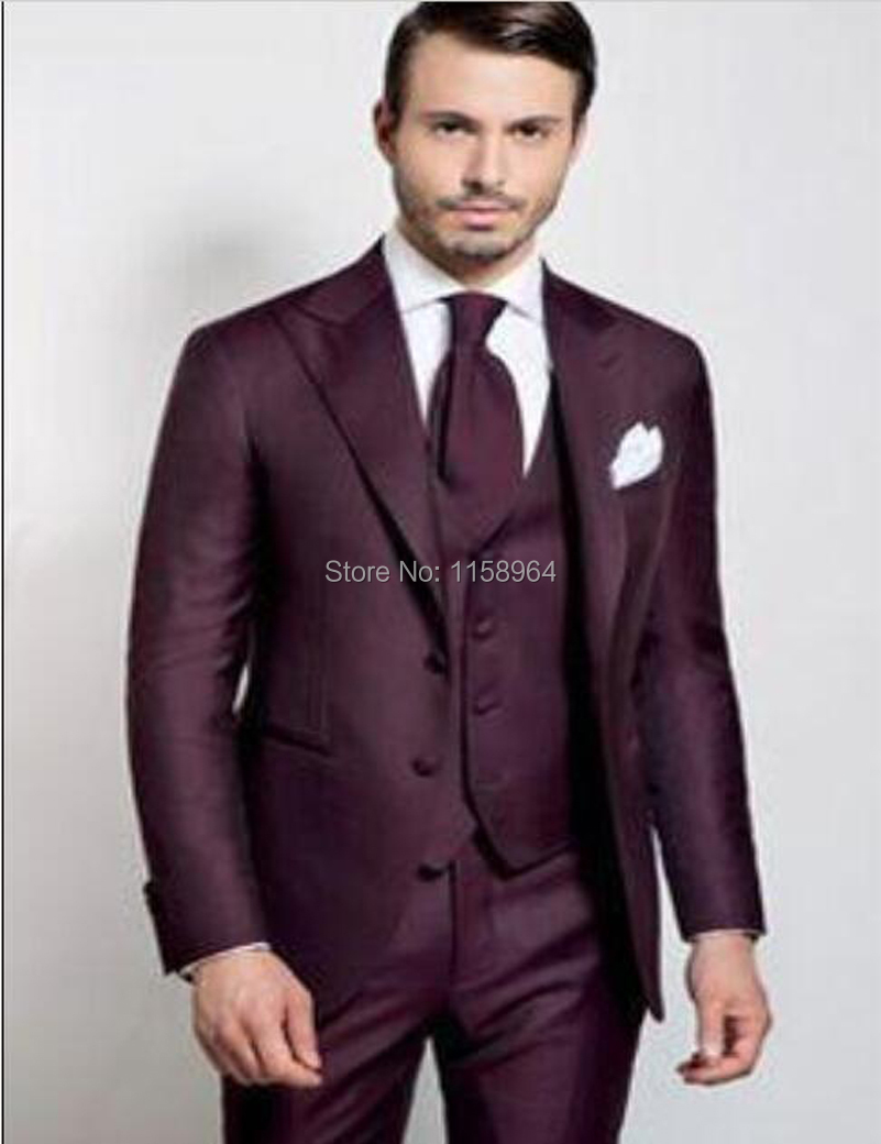 2018 Wholesale High Quality Two Buttons Burgundy Groom Tuxedos Peak ...