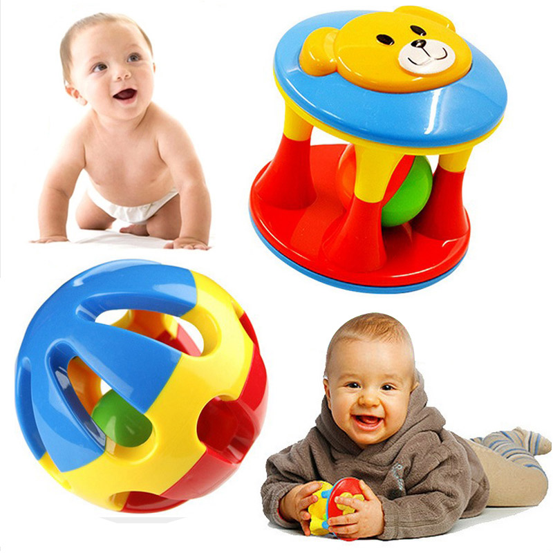 2Pcs/Lot Baby Toy Fun Little Loud Jingle Ball Ring jingle Develop Baby Intelligence Training Grasping ability Toy For Baby(China (Mainland))
