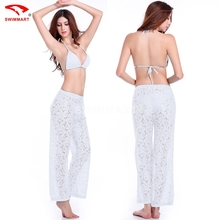 Summer Women Lace  Pants Sexy Hollow Out Hook Flower Beach Pants About  95cm Length 4 colors  Loose Casual Trousers  #1127(China (Mainland))