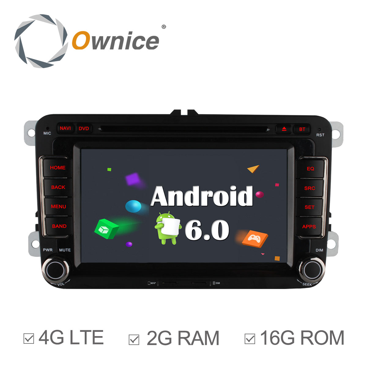 Ownice Android 6.0 Quad Core 2G RAM Car DVD GPS navi player for Volkswagen golf 4 golf 5 6 touran passat B6 sharan jetta caddy(China (Mainland))