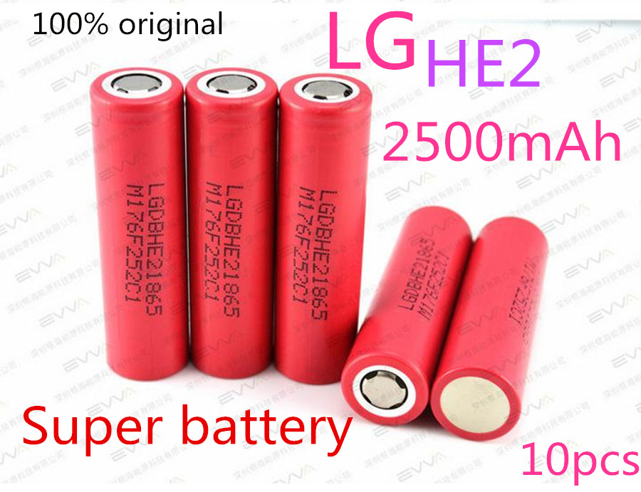 10PCS original LG 18650 lithium ion rechargeable He2 3.7 V 2500mah can maintainthe electronic cigarette rechargeable battery 20A(China (Mainland))