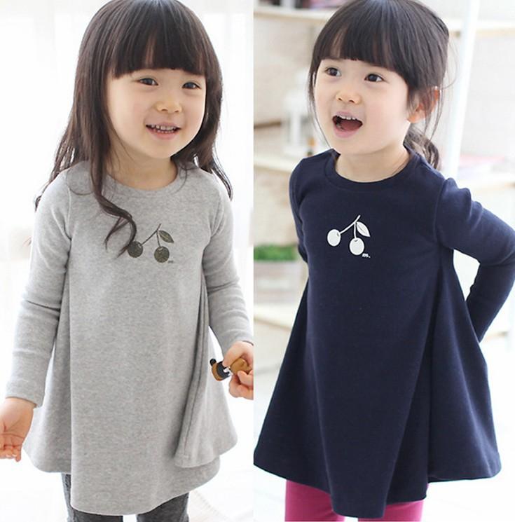 Free shipping,spring autumn 2014 children clothing,long sleeve girl clothing,dress,Korean,baby skirt,cherry base shirt,Kids wear<br><br>Aliexpress