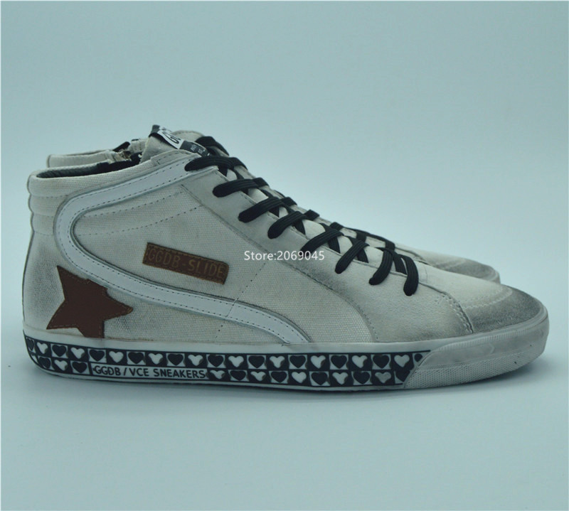 Original Italy Golden Goose Casual Shoes Beige Genuine Leather GGDB Superstar Lace Up High Tops Couples Shoes Scarpe Donna Uomo hogan scarpe uomo